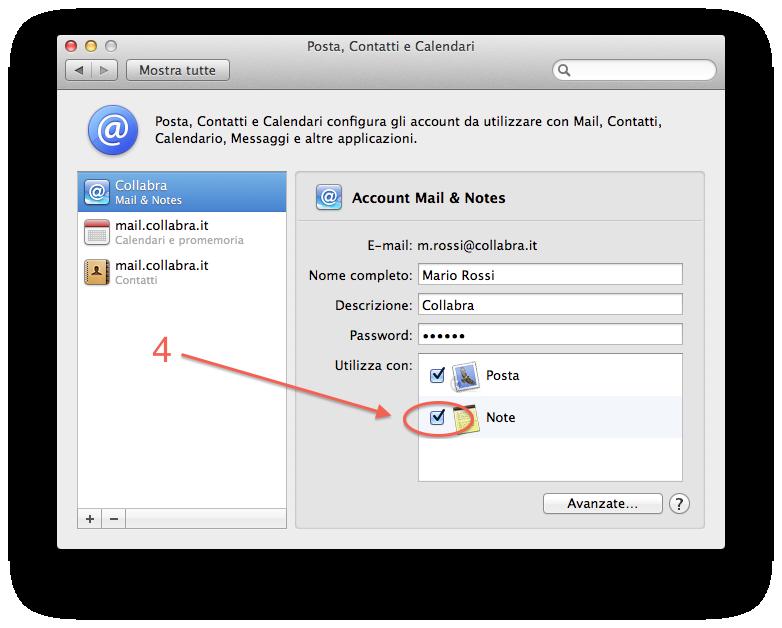 Apple Mail Configurare posta step per Note Mac OS step 3