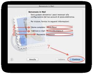 Apple Mail Configurare posta step 2