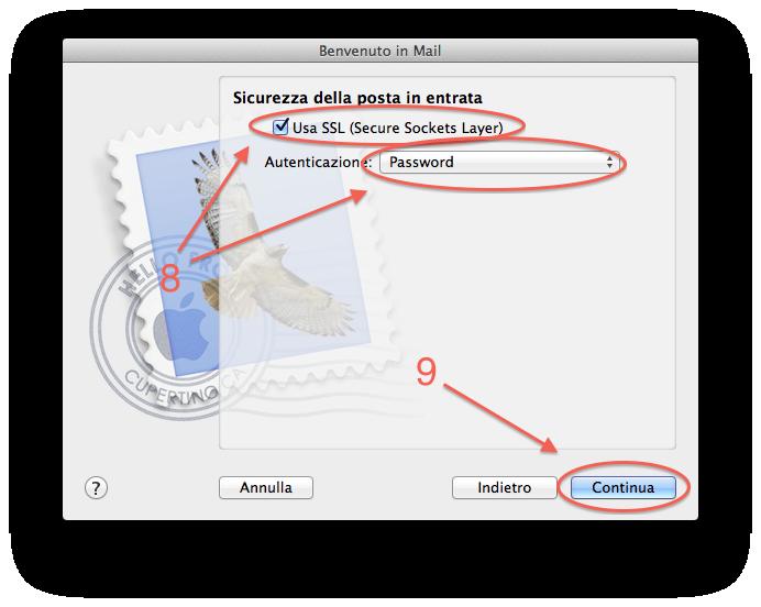Apple Mail Configurare posta step 3