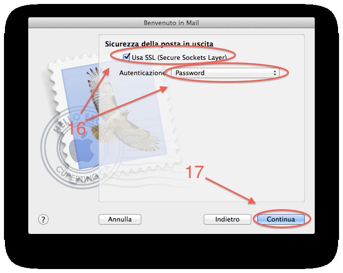 Apple Mail Configurare posta step 6
